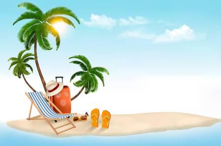 valigia: Isola tropicale con palme, una sedia a sdraio e una valigia. Vacanze vettore sfondo. Vettore.