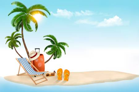 tourist: Tropical island with palms, a beach chair and a suitcase. Vacation vector background. Vector.
