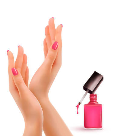 polish: Female beautiful hands with a pink nail polish bottle. Vector.