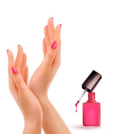 mujer: Las mujeres hermosas manos con una botella de esmalte de uñas de color rosa. Vector.