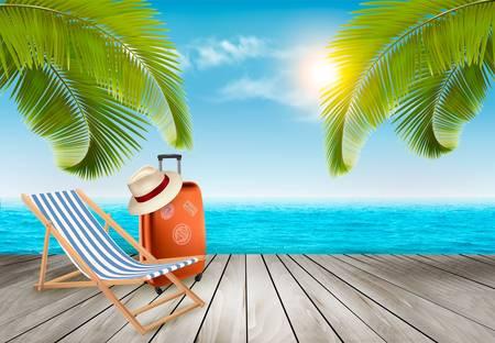 Dovolená pozadí. Pláž s palmami a modré moře. Vektor.