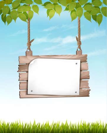 fondo natural: Fondo natural con hojas y un letrero de madera. Vector. Vectores