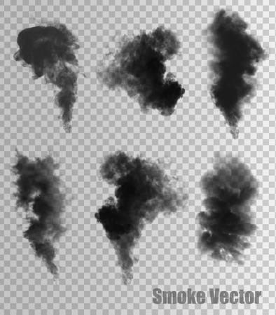 Vecteurs de fumée sur fond transparent. Banque d'images - 40917963