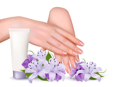 white lilly: Beautiful young female hands with a cream and purple flowers. Vector. Illustration