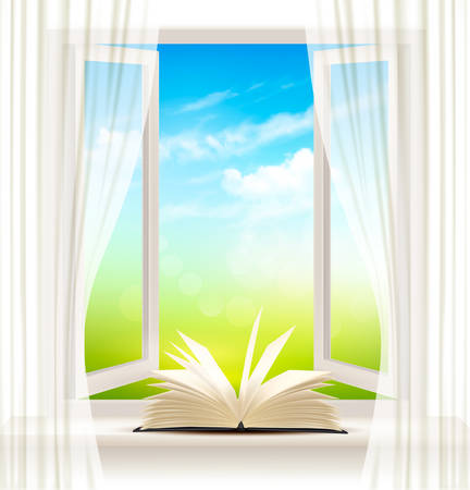 open window: Background with an open window and open book. Vector. Illustration
