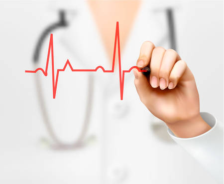 Doctor hand drawing cardiogram. Vector Illustration