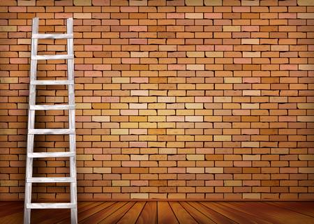 Vintage brick wall background with wooden ladder. Vector Illustration