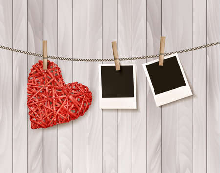 vintage photo: Red wooden heart with photographs. Vector. Illustration