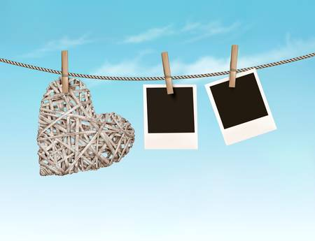 rope vector: Beautiful wooden heart with photos hanging on a rope. Vector. Illustration