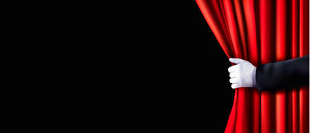 Background with red velvet curtain and hand. Vector illustration. Vettoriali