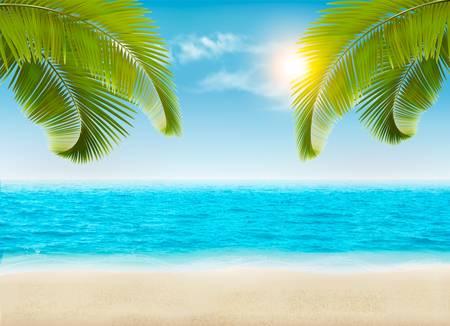 estate: In riva al mare con palme e una spiaggia. Vettore.