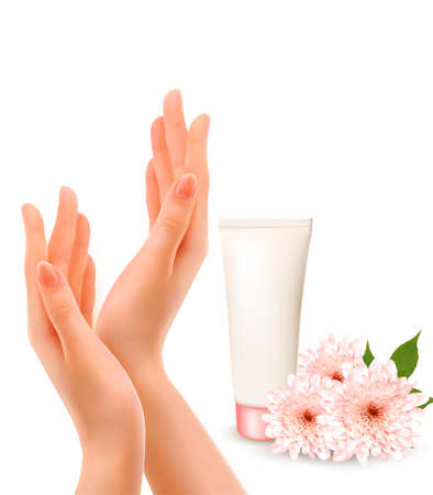 Beautiful female hands with a cream and flowers. Vector.