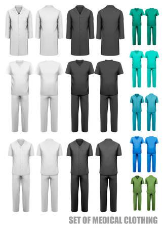 bata de laboratorio: Conjunto de ropa médica. Plantilla de diseño. Ilustración del vector. Vectores