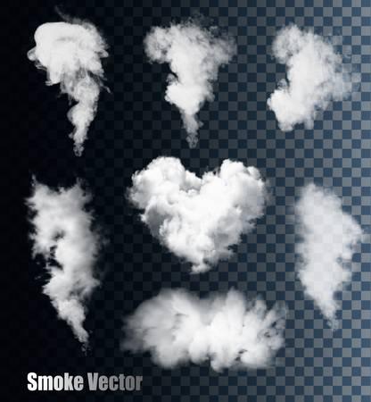 ciel avec nuages: vecteurs de fumée sur fond transparent. Illustration
