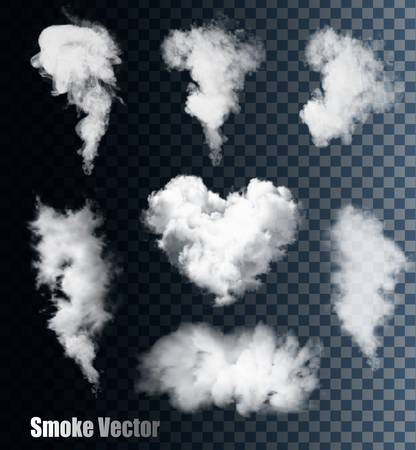 humo: Vectores de humo en el fondo transparente. Vectores