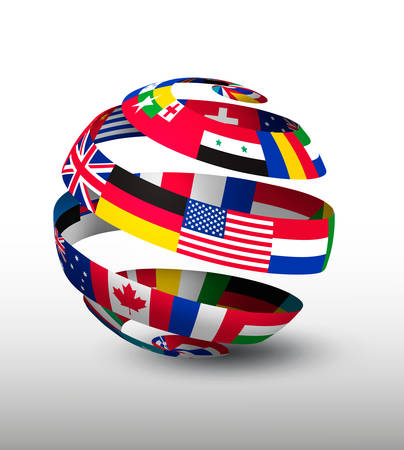 maps globes and flags: Globe made of a strip of flags. Vector.