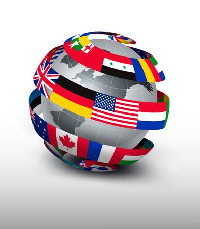 wereldbol: Wereldbol gemaakt van een strook van vlaggen. Vector. Stock Illustratie