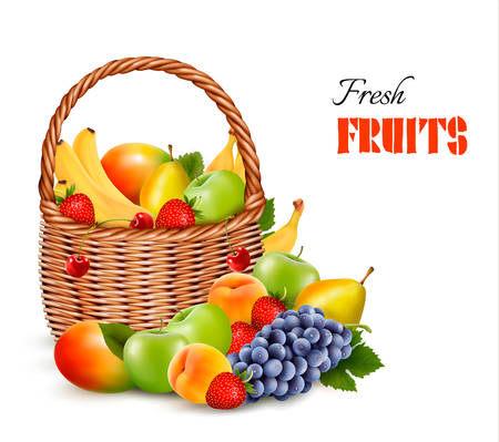canastas con frutas: Frutas de color fresco en cesta. Concepto de dieta. Ilustración vectorial Vectores