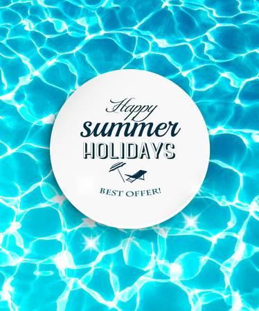 Letnie wakacje w tle z pięknym wody morskiej. Wektor.