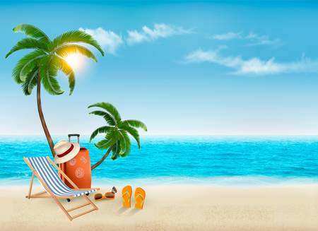 paradise beach: Tropical seaside with palms, a beach chair and a suitcase. Vacation vector background. Vector.