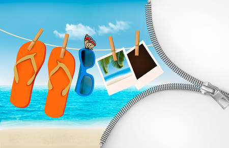 sand beach: Vacation background with a zipper. Flip flops, sunglasses, photos. Vector.