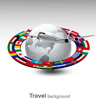 official symbol: Travel background. Globe with a plane and a strip of flags. Vector.
