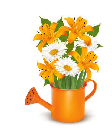 forsythia: Watering can with a bouquet of flowers. Vector.