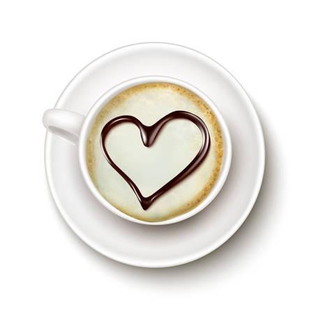 cappucino: Kopje koffie met een hart. Vector. Stock Illustratie