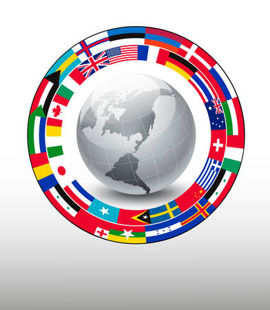 Travel background. Globe with a strip of flags. Vector. Иллюстрация