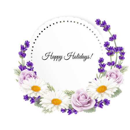 flower decoration: Beautiful holiday greeting card with flower decoration. Vector.