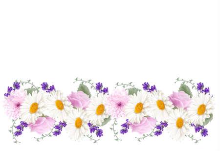 borde de flores: Bandera hermosa flor frontera vacaciones. Vector.