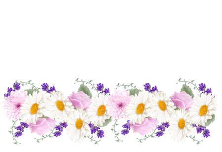 flower border: Beautiful holiday flower banner border. Vector. Illustration