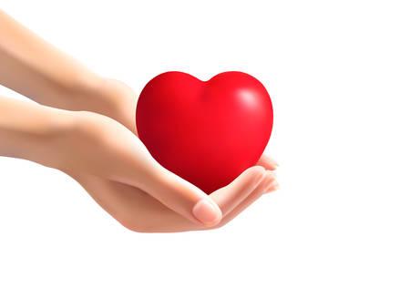Hands holding a heart. Vector. Иллюстрация