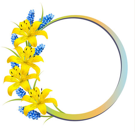 yellow vector: Flower background with yellow lilies and lavender. Vector. Illustration