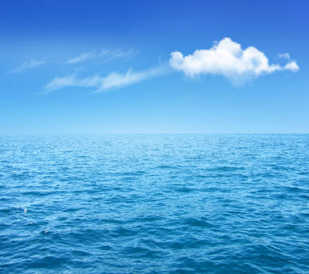 Nature Background With Blue Sea And Blue Sky With Clouds. Vector