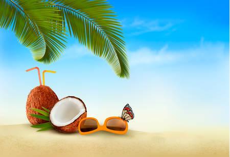 vacaciones en la playa: Fondo de las vacaciones. Playa con palmeras y mar azul. Vector.