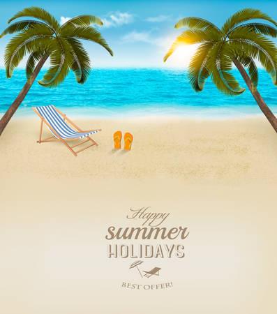 Urlaub Hintergrund. Strand mit Palmen und blaues Meer. Vector. Standard-Bild - 43249901