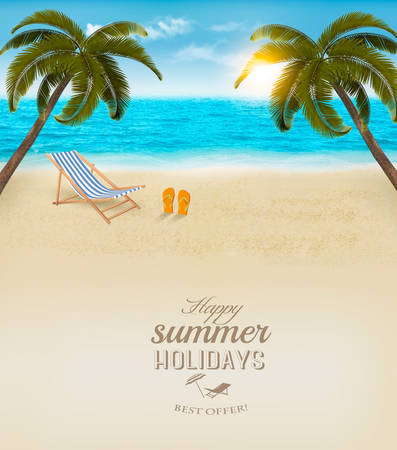 sunny beach: Vacation background. Beach with palm trees and blue sea. Vector.