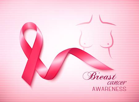 cancer symbol: Breast cancer awareness ribbon on a pink background. Vector.