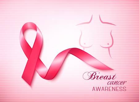 cancer de mama: Cinta de la conciencia del c�ncer de mama en un fondo rosado. Vector. Vectores