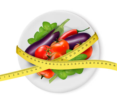 dieting: Vegetables on a plate with measuring tape. Dieting concept. Vector.