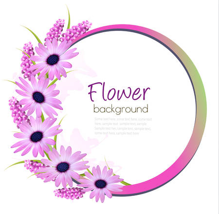 purple flowers: Flower background with beautiful purple flowers. Vector.