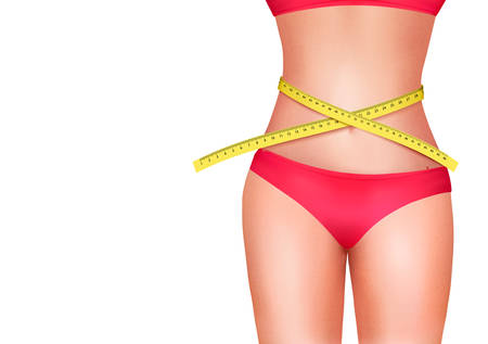waist weight: Female body with measuring tape. Diet concept. Vector.