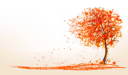 autumn tree: Autumn background with a tree and golden leaves. Vector.