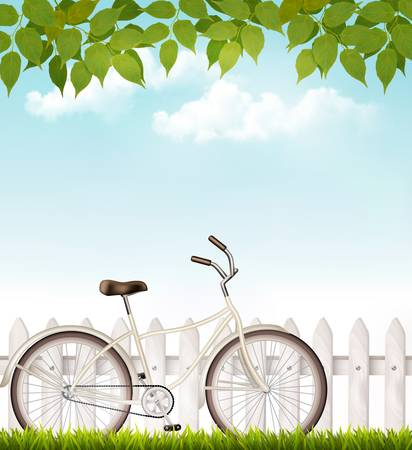 neighborhood: Bicycle in front of a white fence with green leaves. Vector. Illustration