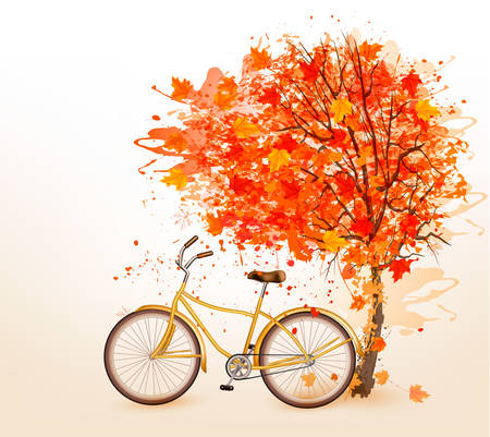 biking: Autumn tree background with a yellow bicycle. Vector.