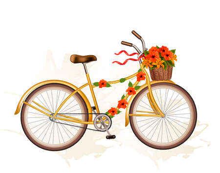Autumn bicycle with orange flowers. Vector. Illustration