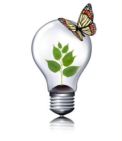 ecology background: Eco light bulb with a butterfly. Vector.