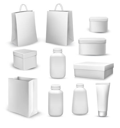 gift bags: Big collection of shopping bags, gift boxes, plastic containers and cream tube. Vector Illustration