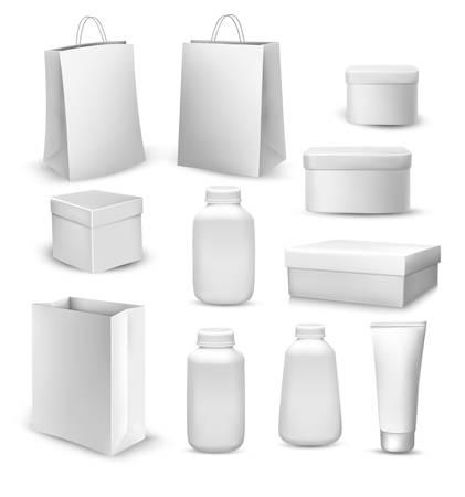 envases plasticos: Gran colección de bolsas de la compra, cajas de regalo, envases de plástico y tubo de crema. Vector